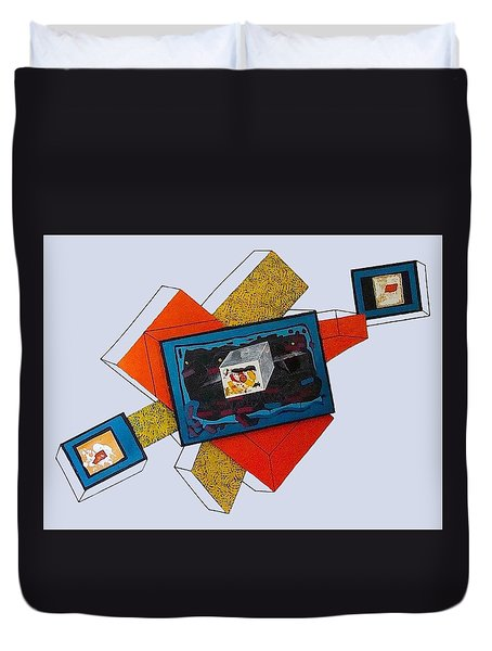 Stratified Tryptych Relief 2 Duvet Cover