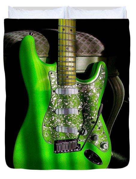 Stratocaster Plus In Green Duvet Cover
