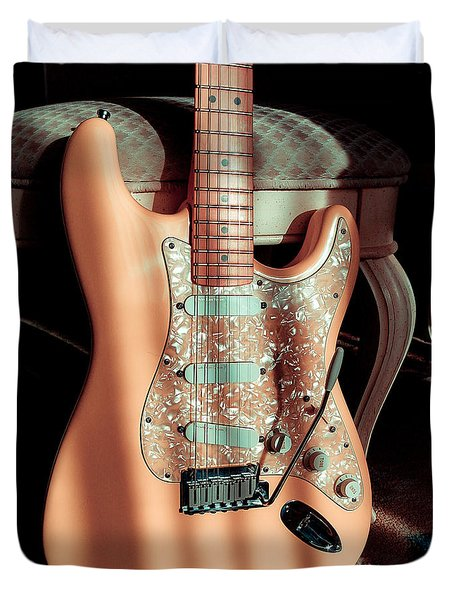 Stratocaster Plus In Shell Pink Duvet Cover