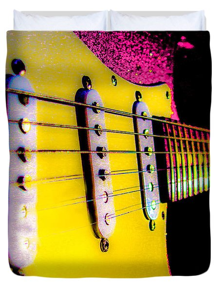Duvet Cover featuring the photograph Stratocaster Pop Art Pink Fire Neck Series by Guitar Wacky