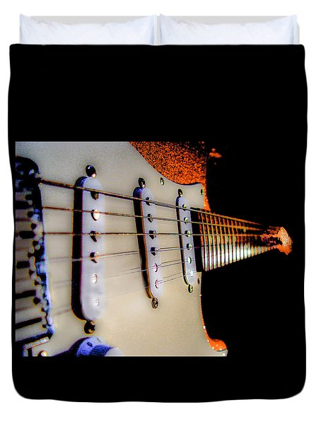 Duvet Cover featuring the photograph Stratocaster Pop Art Tangerine Sparkle Fire Neck Series by Guitar Wacky