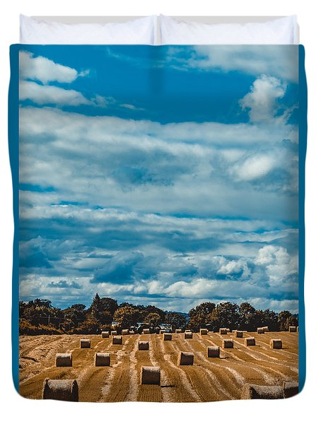 Straw Bales In A Field 2 Duvet Cover