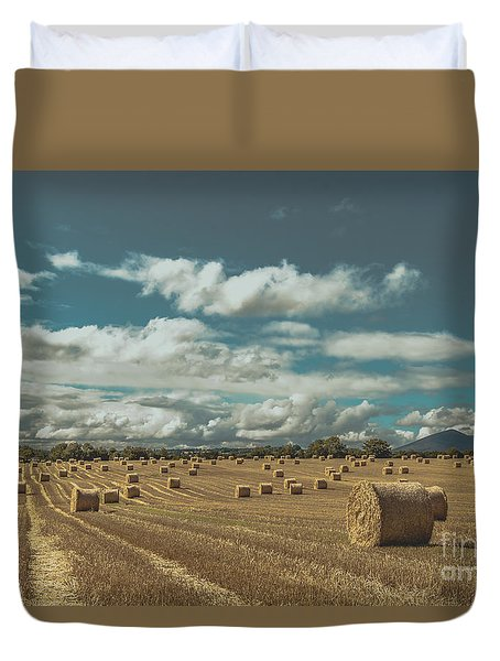Straw Bales In A Field 3 Duvet Cover
