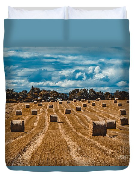 Straw Bales In A Field Duvet Cover