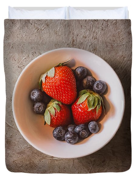 Strawberries And Blueberries Duvet Cover