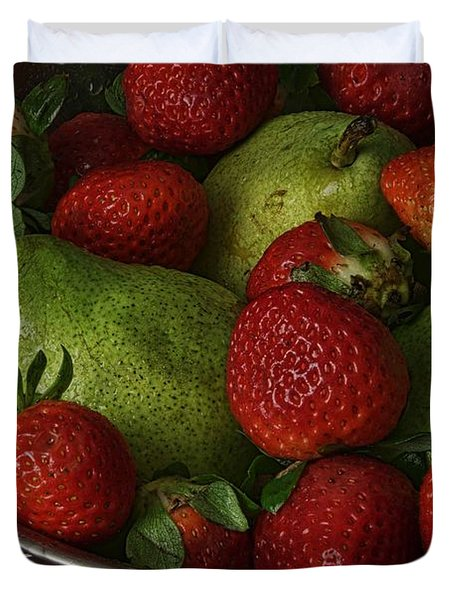 Strawberries And Pears II Duvet Cover by Richard Rizzo