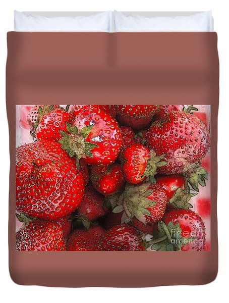 Strawberries Duvet Cover by David Blank