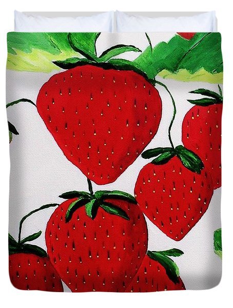 Duvet Cover featuring the painting Strawberries by Rodney Campbell