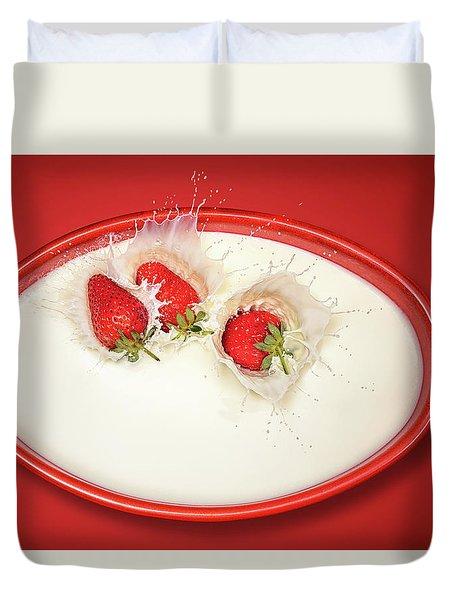 Strawberries Splashing In Milk Duvet Cover