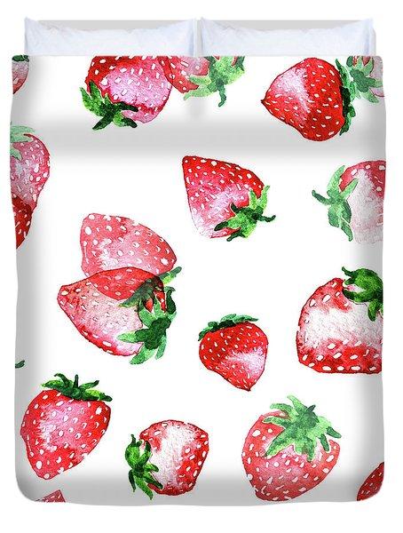 Strawberries Duvet Cover by Varpu Kronholm