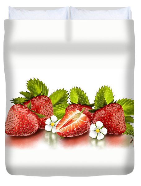 Strawberries Duvet Cover by Veronica Minozzi