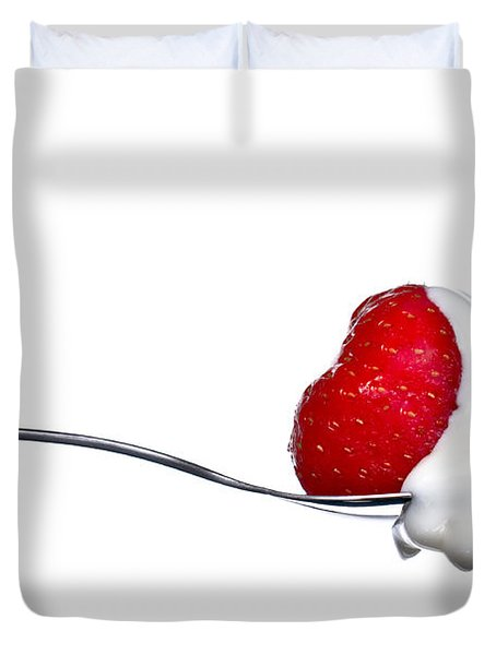 Strawberry And Cream Duvet Cover by Gert Lavsen