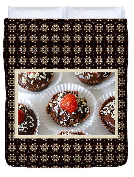 Duvet Cover featuring the photograph Strawberry And Dark Chocolate Mousse Dessert by Shelley Neff