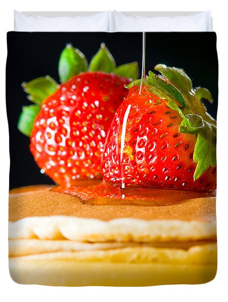 Strawberry Butter Pancake With Honey Maple Sirup Flowing Down Duvet Cover by Ulrich Schade