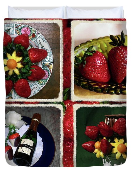 Strawberry Collage Duvet Cover by Sally Weigand