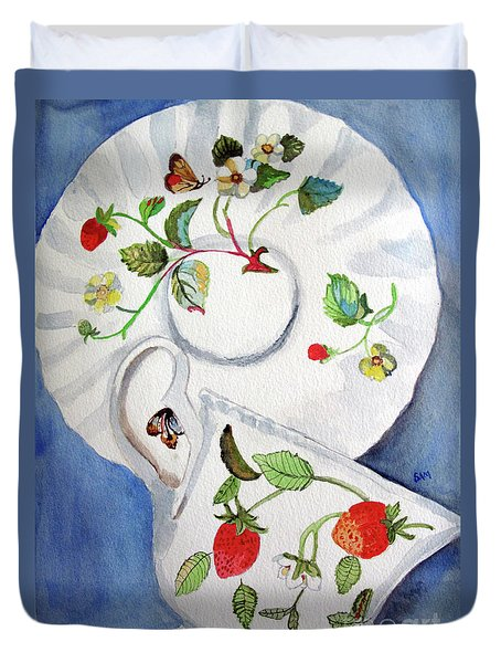 Strawberry Cup And Saucer Duvet Cover by Sandy McIntire