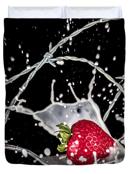 Strawberry Extreme Sports Duvet Cover by TC Morgan