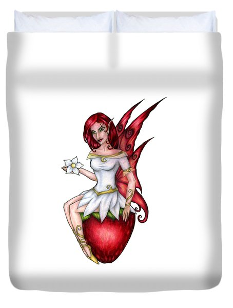 Strawberry Fairy Drawing Duvet Cover