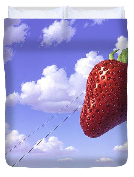 Strawberry Field Duvet Cover by Jerry LoFaro