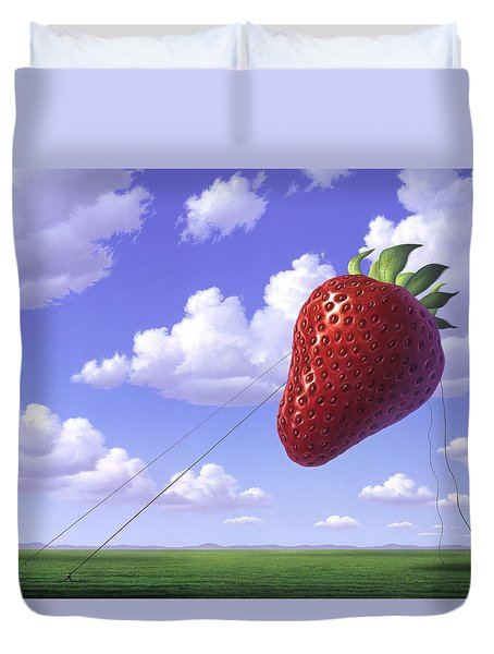 Strawberry Field Duvet Cover by Jerry LoFaro