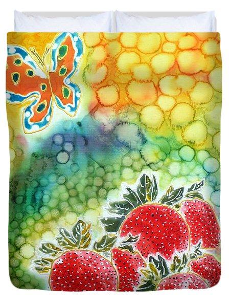 Strawberry Garden Duvet Cover by Beverly Johnson