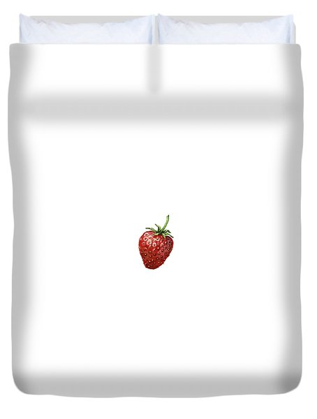 Duvet Cover featuring the painting Strawberry by Heidi Kriel