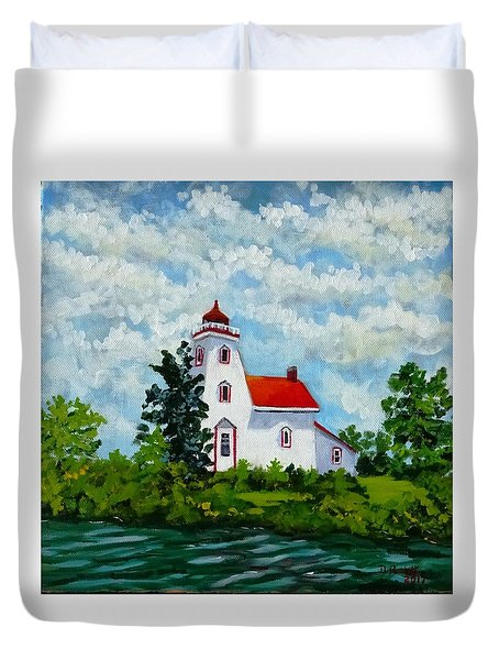 Strawberry Island Lighthouse, Manitoulin Island Duvet Cover