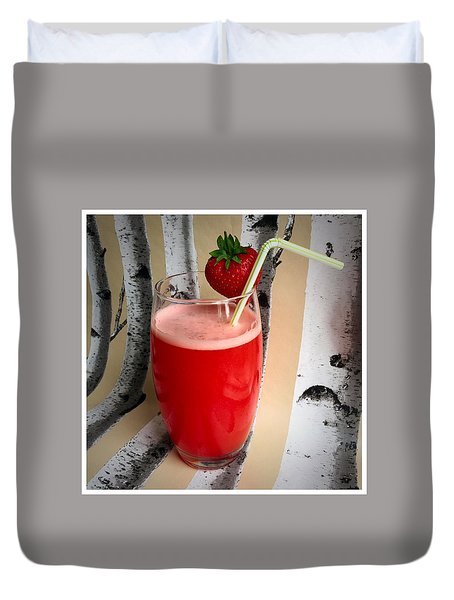 Strawberry Juice Duvet Cover by Kate V
