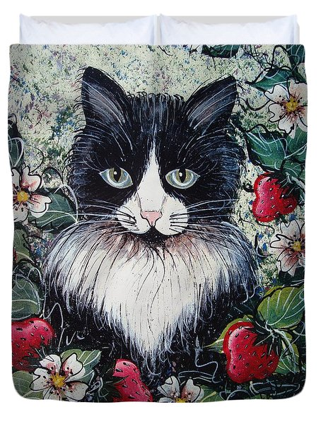 Strawberry Lover Cat Duvet Cover by Natalie Holland