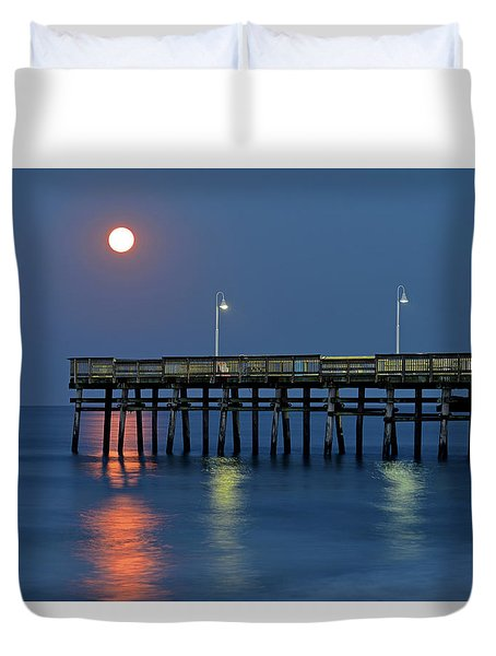 Strawberry Moon Over Sandbridge Duvet Cover