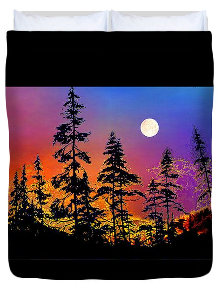 Duvet Cover featuring the painting Strawberry Moon Sunset by Hanne Lore Koehler