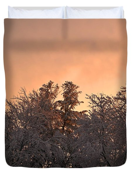 Duvet Cover featuring the photograph Strawberry Sherbet Sunset by Kenny Glotfelty