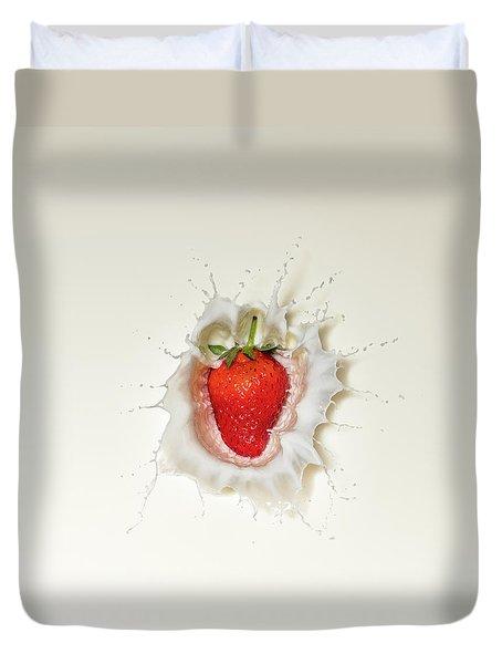 Strawberry Splash In Milk Duvet Cover