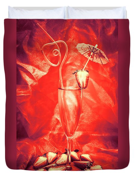 Straweberry Tropical Cocktail Drink Duvet Cover