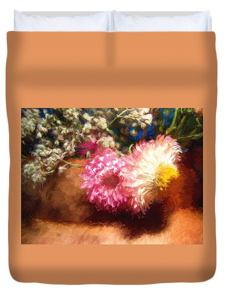 Duvet Cover featuring the photograph Strawflower  by Kathy Bassett