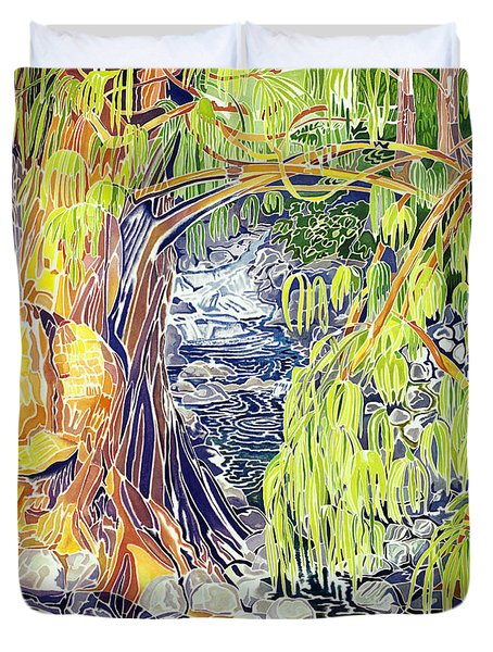 Stream At Laupahoehoe Duvet Cover by Fay Biegun - Printscapes
