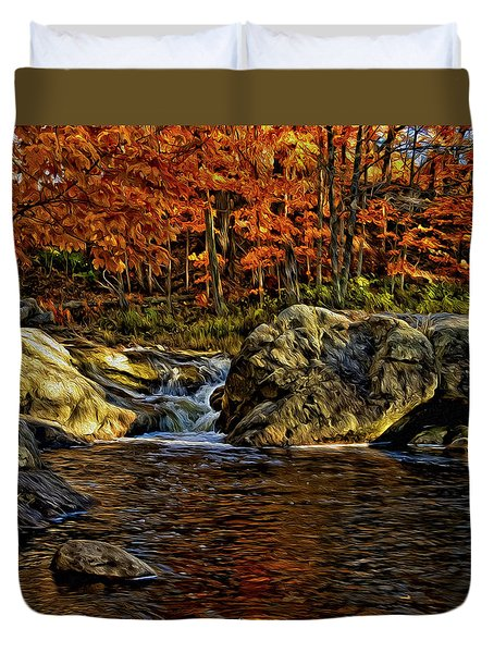 Stream In Autumn 57 In Oil Duvet Cover