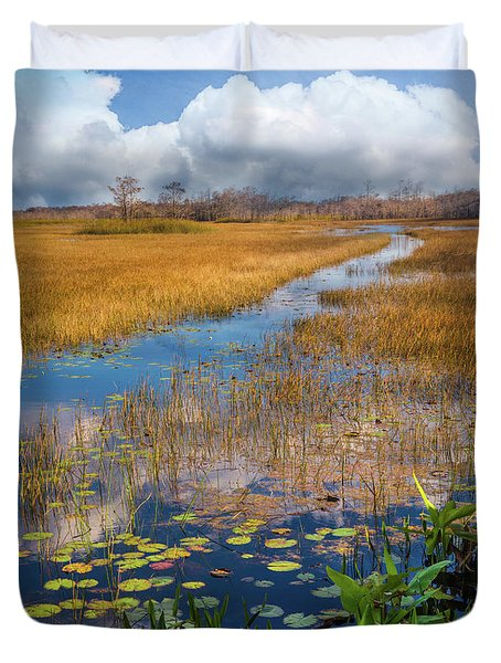 Duvet Cover featuring the photograph Stream Through The Everglades by Debra and Dave Vanderlaan