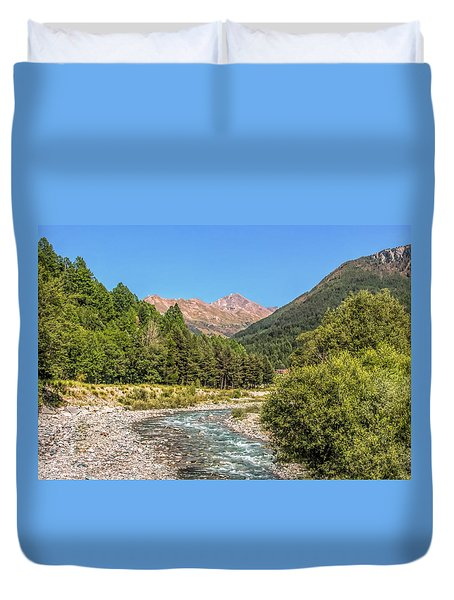 Streaming Through The Alps Duvet Cover