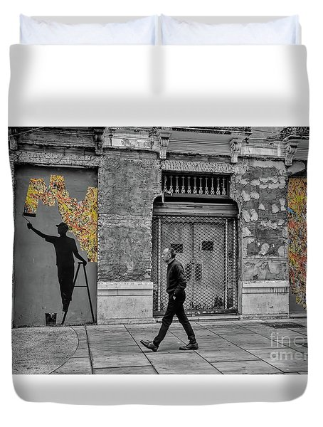 Duvet Cover featuring the photograph Street Art In Malaga Spain by Henry Kowalski