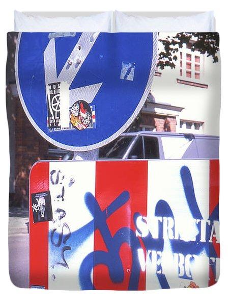 Street Art In Street Sign Duvet Cover