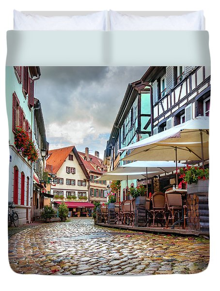 Duvet Cover featuring the photograph Street Cafe After The Rain by Dmytro Korol