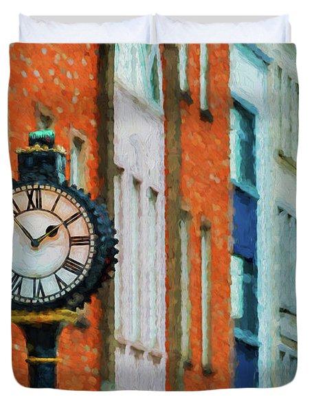 Street Clock In Cork Duvet Cover
