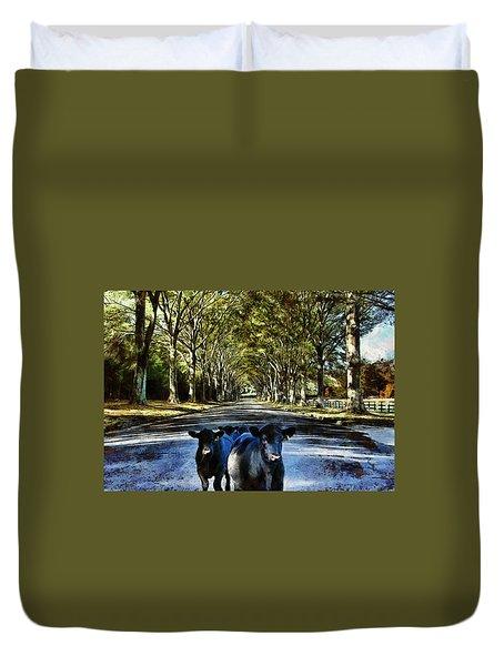 Street Cows Duvet Cover