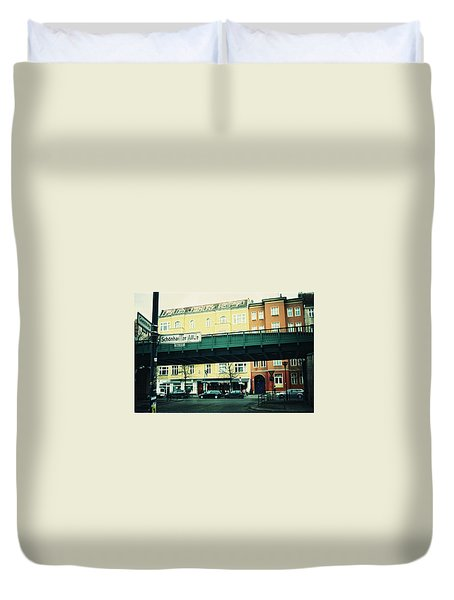 Street Cross With Elevated Railway Duvet Cover