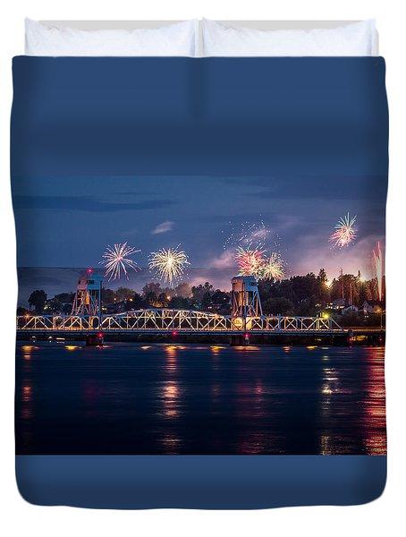Street Fireworks By The Blue Bridge Duvet Cover