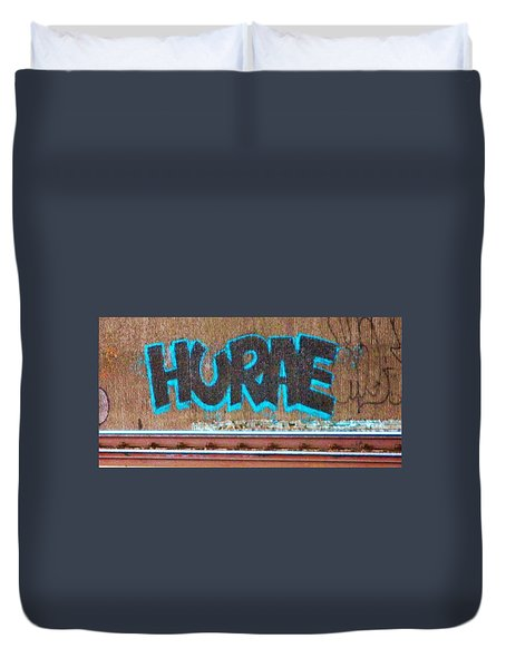 Street Graffiti-hooray Duvet Cover by Martin Cline