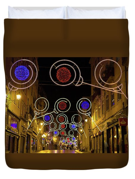 Duvet Cover featuring the photograph Street In Coimbra by Patricia Schaefer