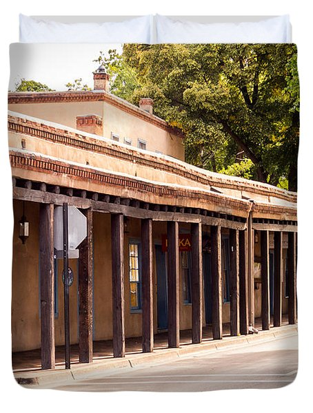 Street In Old Town Santa Fe Duvet Cover by Bob and Nancy Kendrick