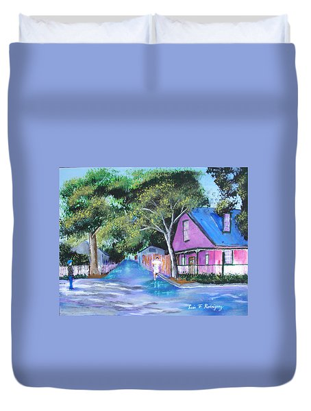 Street In St Augustine Duvet Cover by Luis F Rodriguez